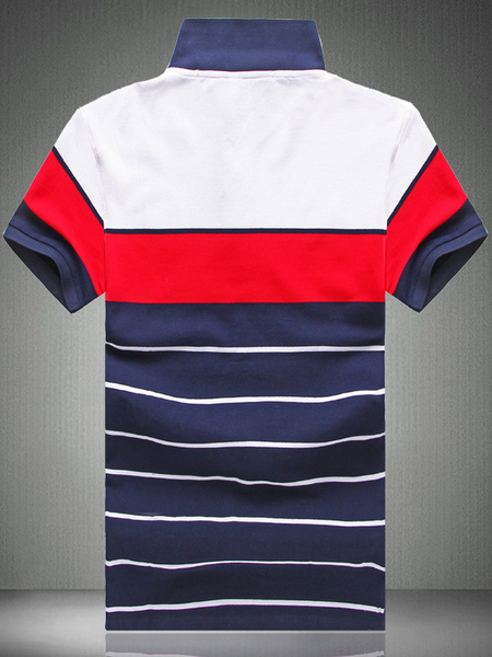 Milanoo / Stripe Baumwolle Kurzarm Polo-Shirt