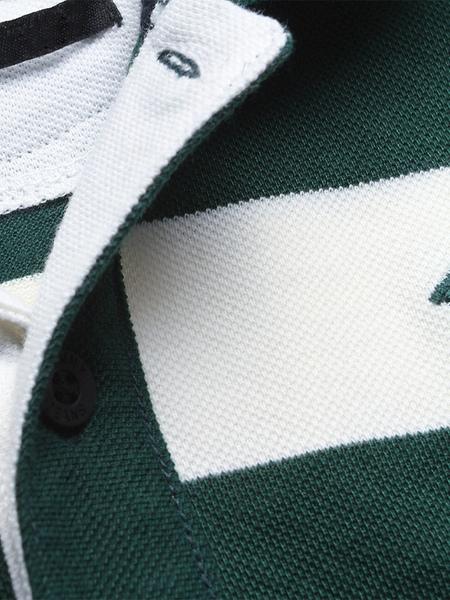 Milanoo / Worte Drucken Baumwolle Kurzarm Polo-Shirt
