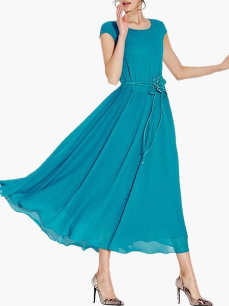 Solid Color Scoop Neck Short Sleeves Chiffon Maxi Dress Milanoo