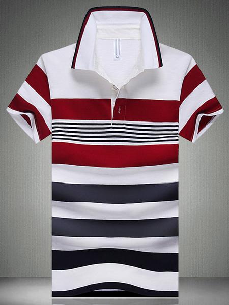 Красный Хлопок Короткий Рукав Мужская Рубашка Поло