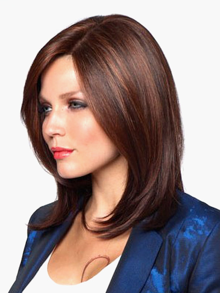Fashion Brown Side Parting Urban Heat-resistant Fiber Medium Wig фото