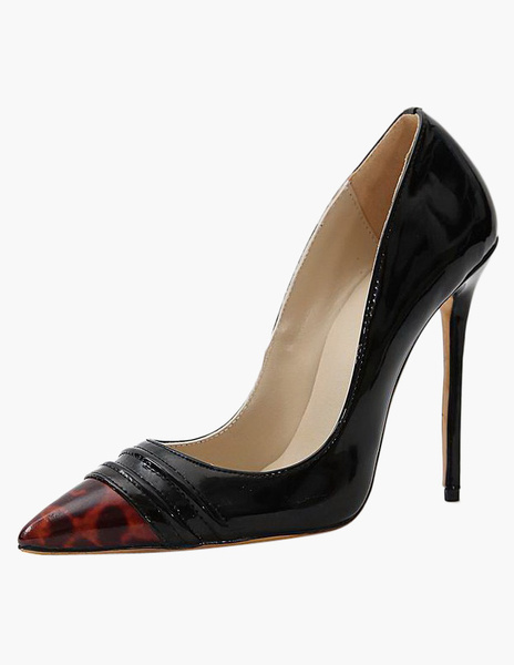 Black Stiletto Heel PU Leather Pointy Toe Shoes