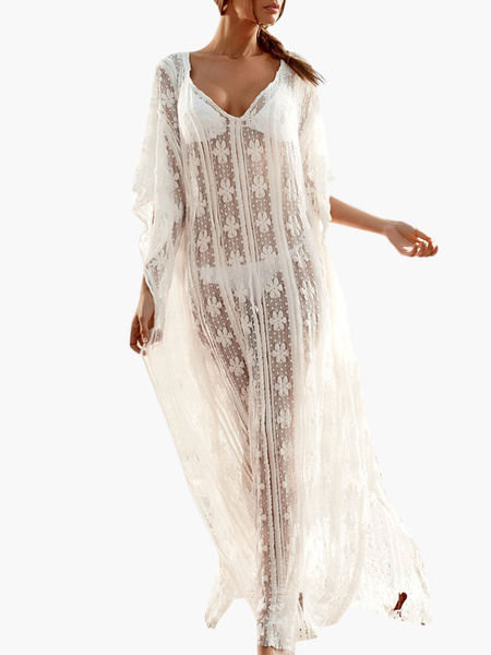 Ecru White Semi-Sheer Lace V-Neck Long Lace Cover Up фото