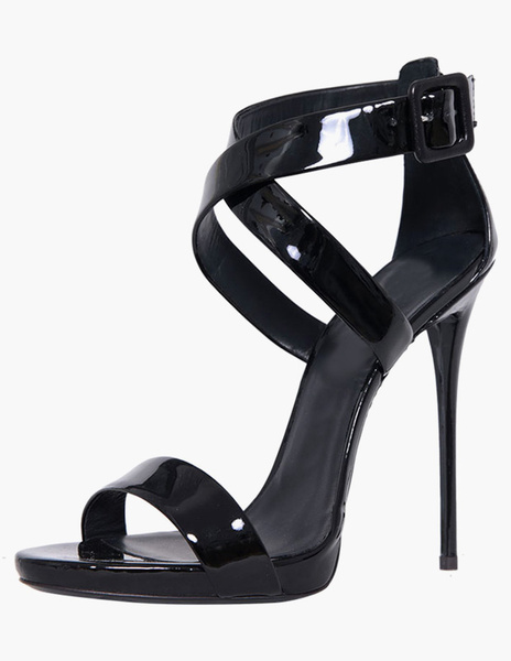 Formal Black Glazed PU Stiletto Heel Gladiator Sandals
