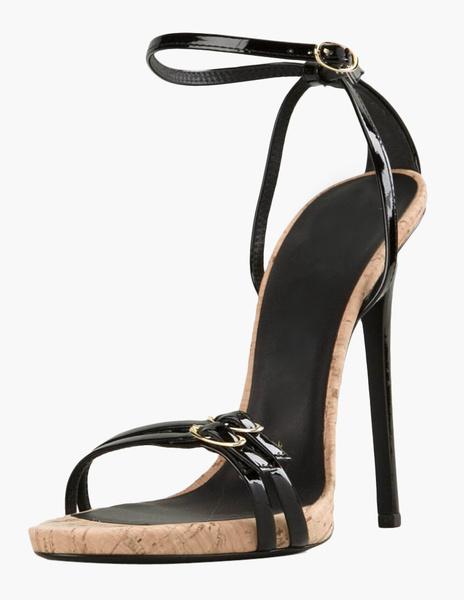 European Style Black Buckle Stiletto Heel Patent PU Dress Sandals фото