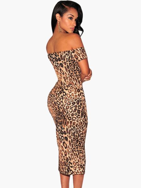 Milanoo / Off-the-Shoulder Leopard Print Short Sleeves Bodycon Dress