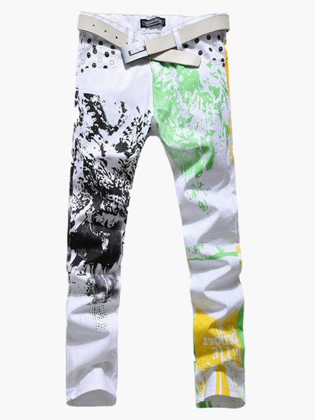White Painted Denim Men's Pants фото