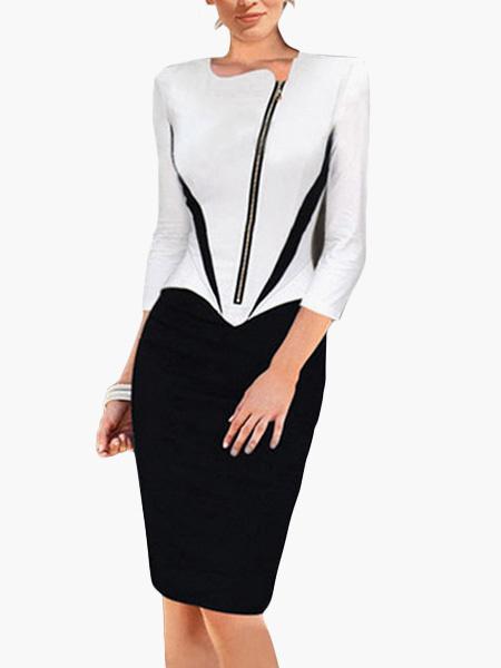 Two-Tone Cotton Blend 3/4 Length Sleeves Zipper Bodycon Dress фото