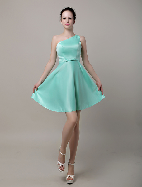 A-Line One Shoulder Short/Mini Satin Bridesmaid Dress With Bow