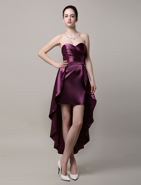 Sheath/Column Asymmetrical Satin Bridesmaid Dress Milanoo
