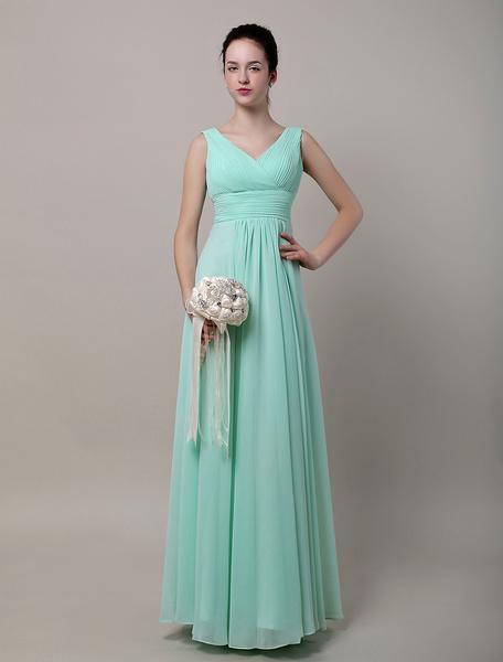 A-Line V-Neck Floor-Length Chiffon Bridesmaid Dress With Flowers