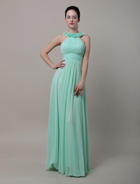 Halter Floor-Length Chiffon Bridesmaid Dress With Flowers фото