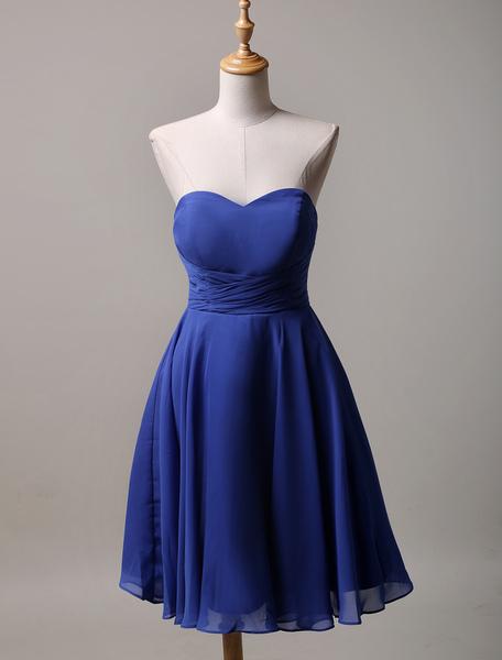 A-Line Strapless Sweatheart Chiffon  Short Bridesmaid Dress