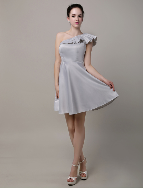 A-Line Ruffles One Shoulder Short/Mini Satin Bridesmaid Dress