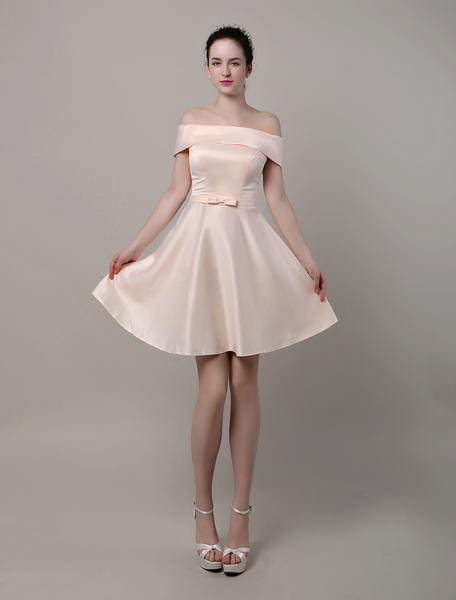 A-Line Bateau Satin Short/Mini Bridesmaid Dress