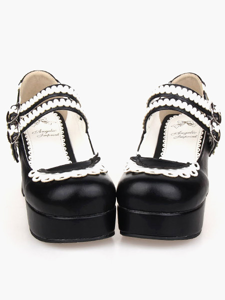 High Quality Round Toe PU Leather Daily Casual Lolita Shoes фото