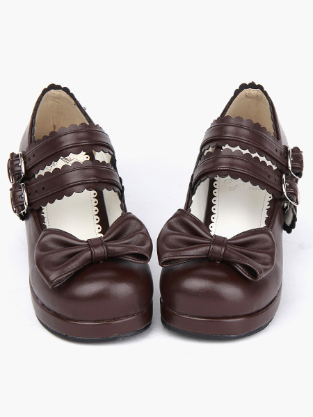 Coffee Brown Lolita Chunky Heels Shoes Square Heels Ankle Straps Buckles Bow Decor фото