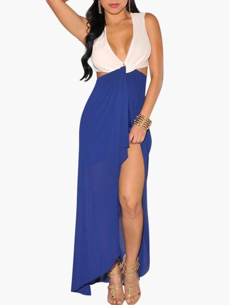 Plunging Neckline Cut Out Sleeveless Split Side Maxi Dress