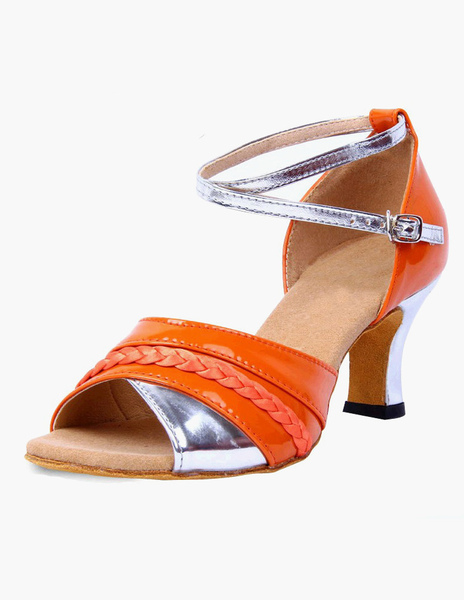 Quality Orange Ankle Strap Open Toe PU Leather Ballroom Shoes