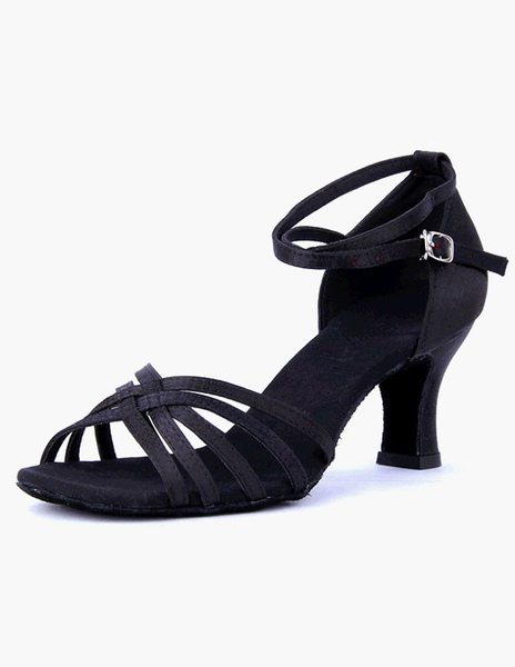 Open Toe Ankle Strap Satin Fashion Ballroom Shoes