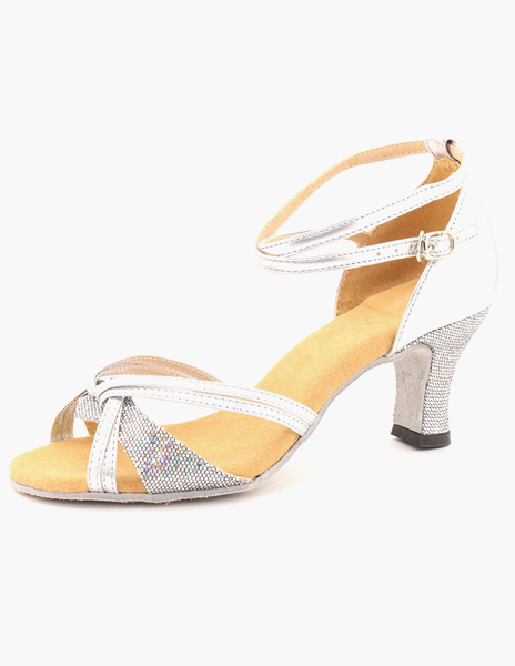 Open Toe Ankle Strap PU Leather Stylish Ballroom Shoes