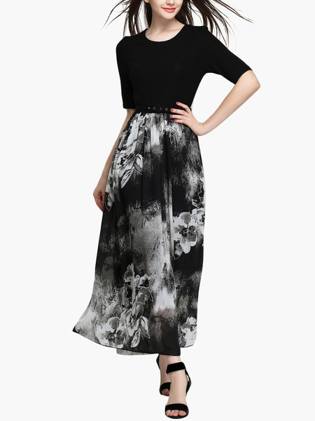 Printed Scoop Neck Half Sleeves Long Dress for Woman фото