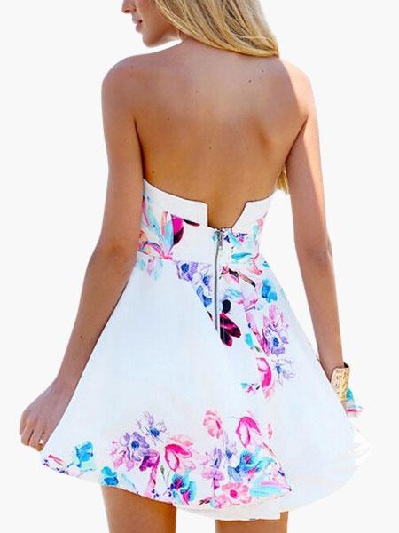 Sexy White Strapless Zipper Cotton Flax Women's Mini Dress фото