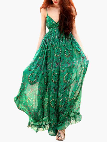 Sleeveless V-Neck Milk Silk Printed Woman's Maxi Dress фото
