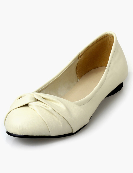 Black Round Toe PU Leather Pastoral Style Flats for Women
