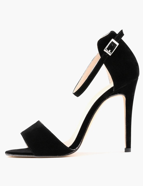 Chic Buckle Stiletto Heel Micro Suede Dress Sandals фото