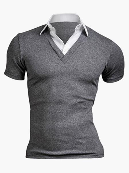 Умный Хлопка С Коротким Рукавом Мужская Рубашка Поло