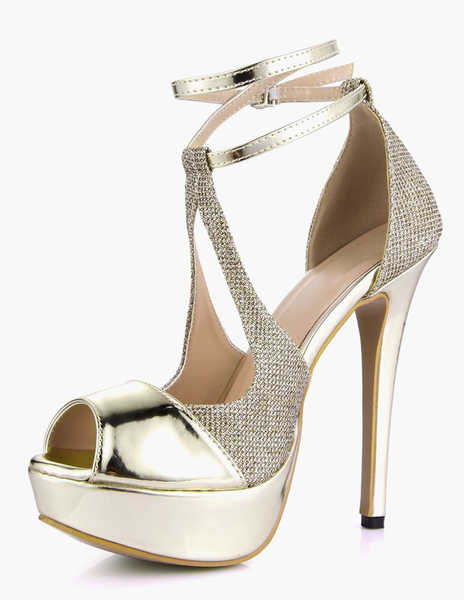 Sexy Ankle Strap Peep Toe PU Leder Licht Gold Damen Plateau Sandalen