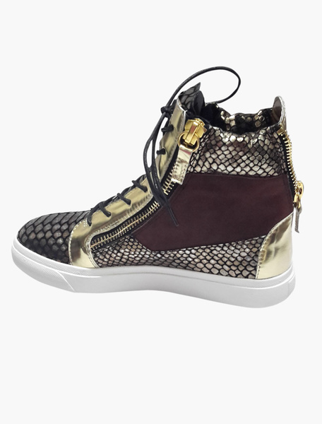 Gold Cowhide Man's Shoes фото