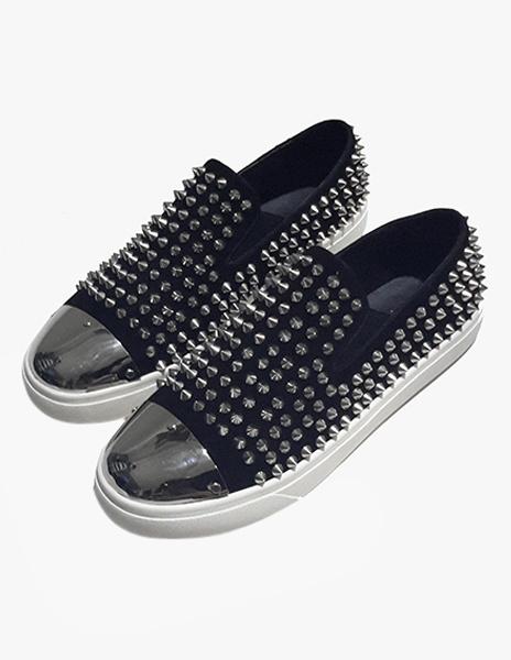 Fashion Silver Monogram Suede Rivets Soft sole Men's Loafer Shoes Milanoo