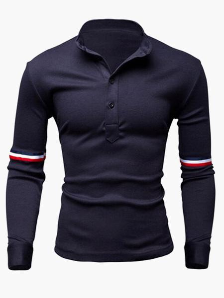 Мода хлопок длинные рукава рубашки поло мужские