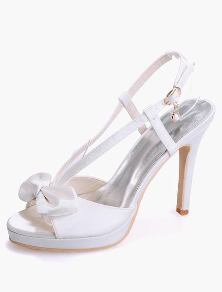 Sandales de mariage satin avec noeud talons aigus