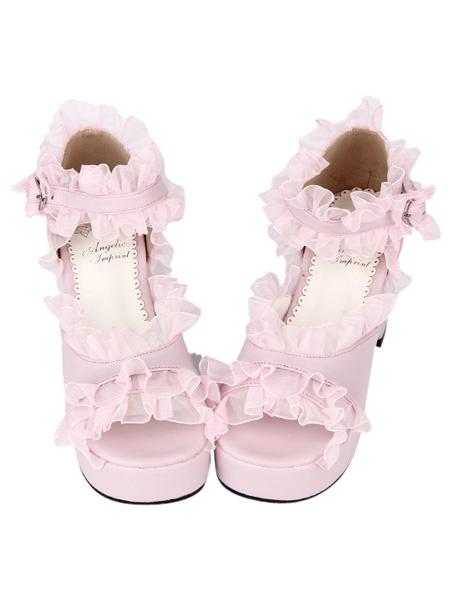 PU Leather Pink Ruffled Trim Mid Heel Round Toe Lolita Sandals фото