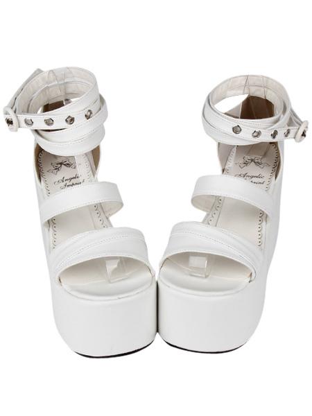 Fashion PU Leather White Lolita Sandals фото