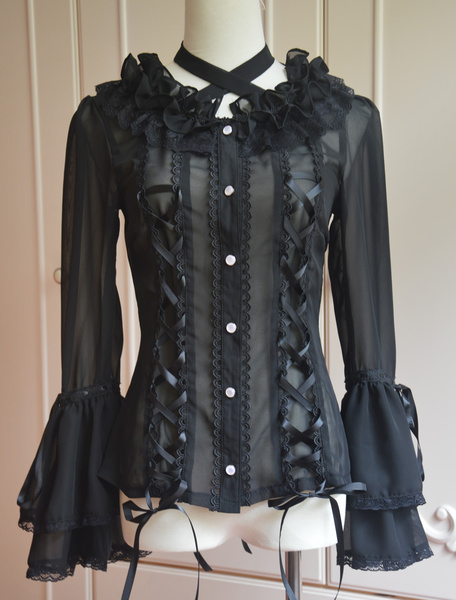 Black Chiffon Lolita Long Hime Sleeves Lace Up Lace Trim Neck Straps фото