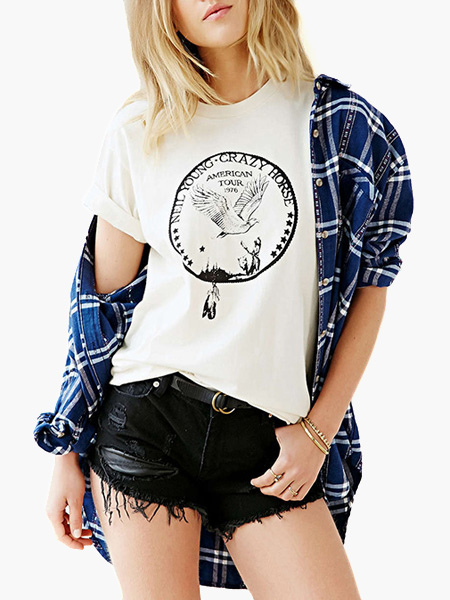 Fashion White Cotton Animal Print Cuffed Short Sleeves Crewneck Tee Shirt