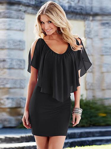 Deep V-Neck Ruffled Summer Dress Milanoo