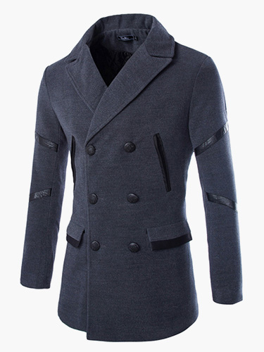 Deep Gray Double-Breasted Coat For Men фото