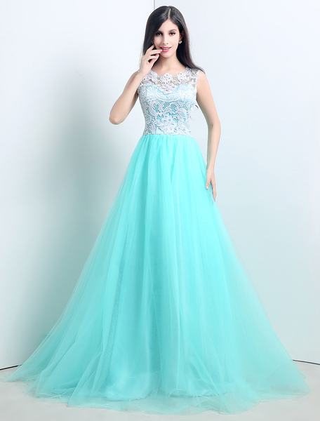 Stunning Sky Blue Tulle gown with beautiful lace with Sheer Neckline фото