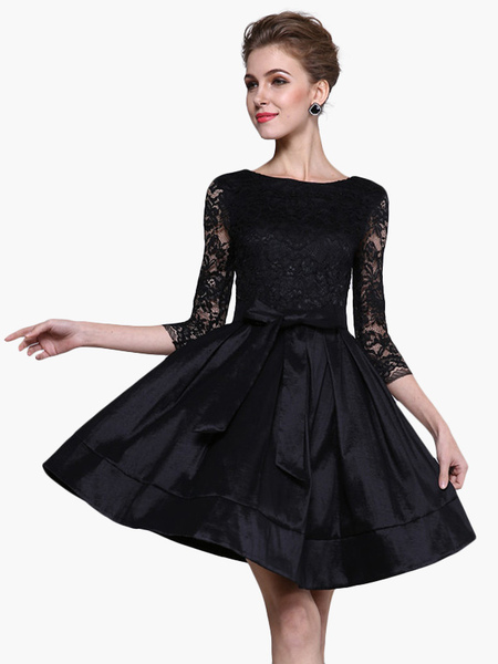 Image of Acetate Bows High Waist Flare Dress