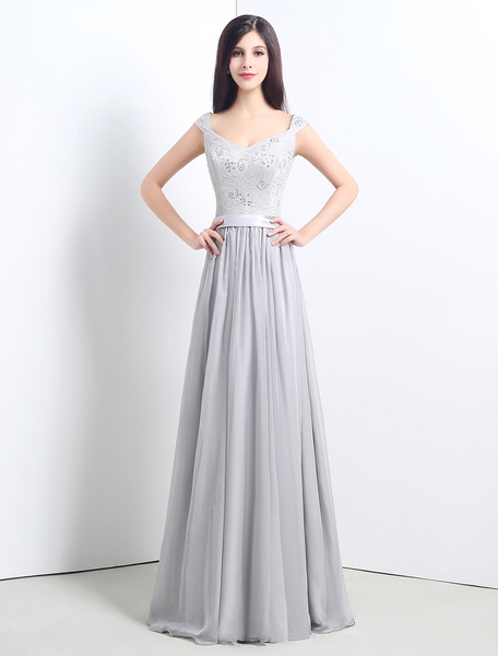 Chiffon Floor-length Cap Sleeve Bridesmaid Dress With Lace Bodice фото
