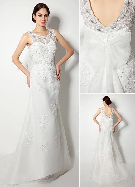 Lace Beaded Jewel Illusion Neckline Wedding Dress With Bow Milanoo