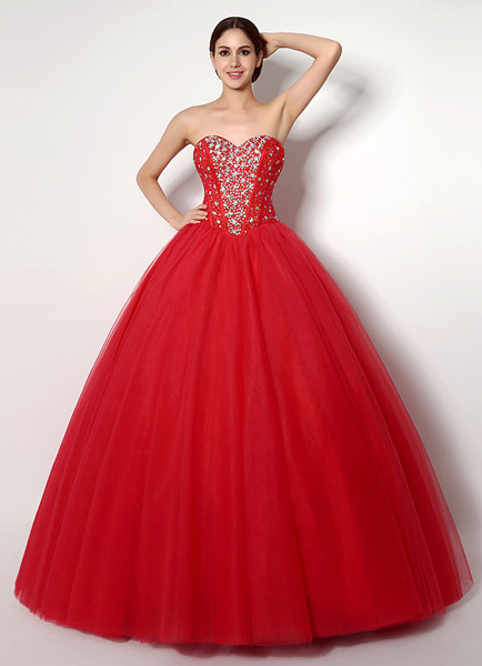 Red Tulle Quinceanera Dress with Spectacular Beading Milanoo