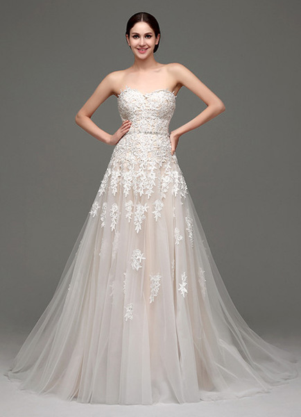 Tulle Strapless Sweatheart Lace Bodice Bridal Gown With Belt фото