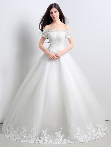 Ball Gown/Princess Tulle Crystal Off The Shoulder Floor-length Wedding Dress фото