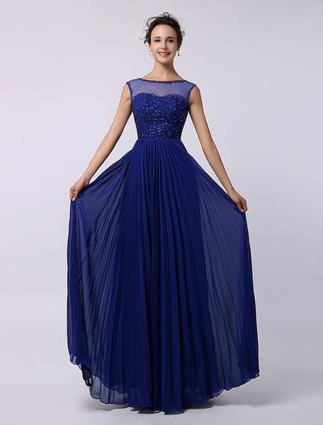 Dazzling Blue Prom Dress Illusion Neckline Pleated Chiffon Party Dress Sequin Beading Floor Length P фото